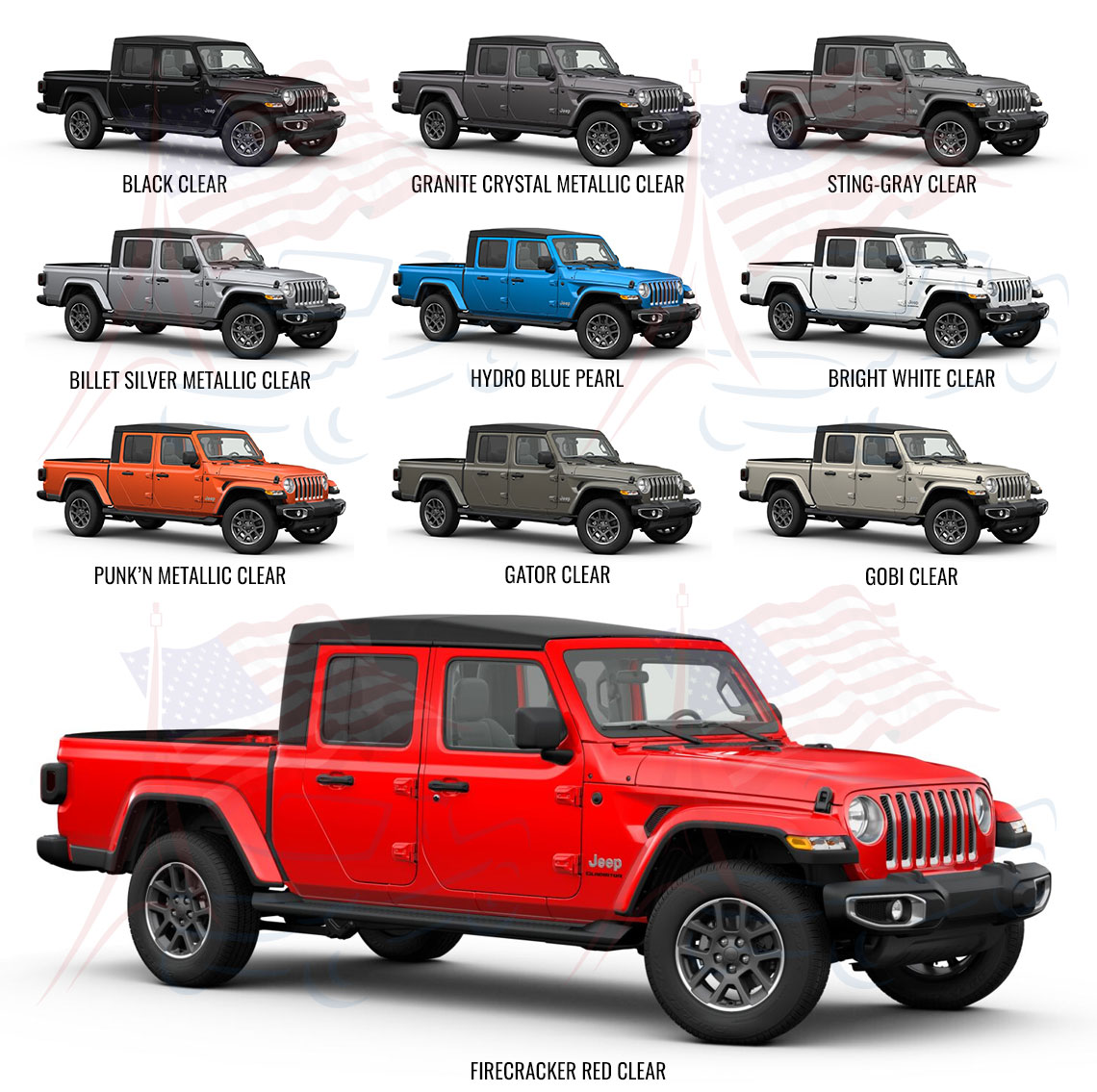 couleurs jeep gladiator